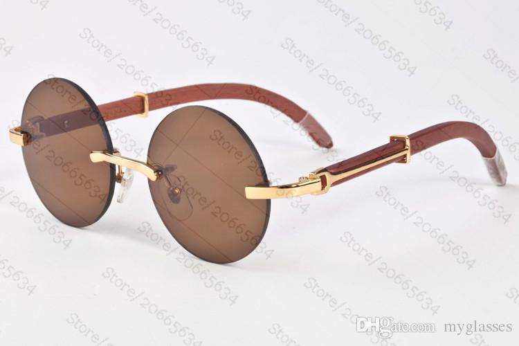 Hombre Lentes Sol Marca Diseñador Claras Gafas Patas Para Color De Marrón Sin Madera Bambú Montura Mujer Del Francia Con Lq4AR35j