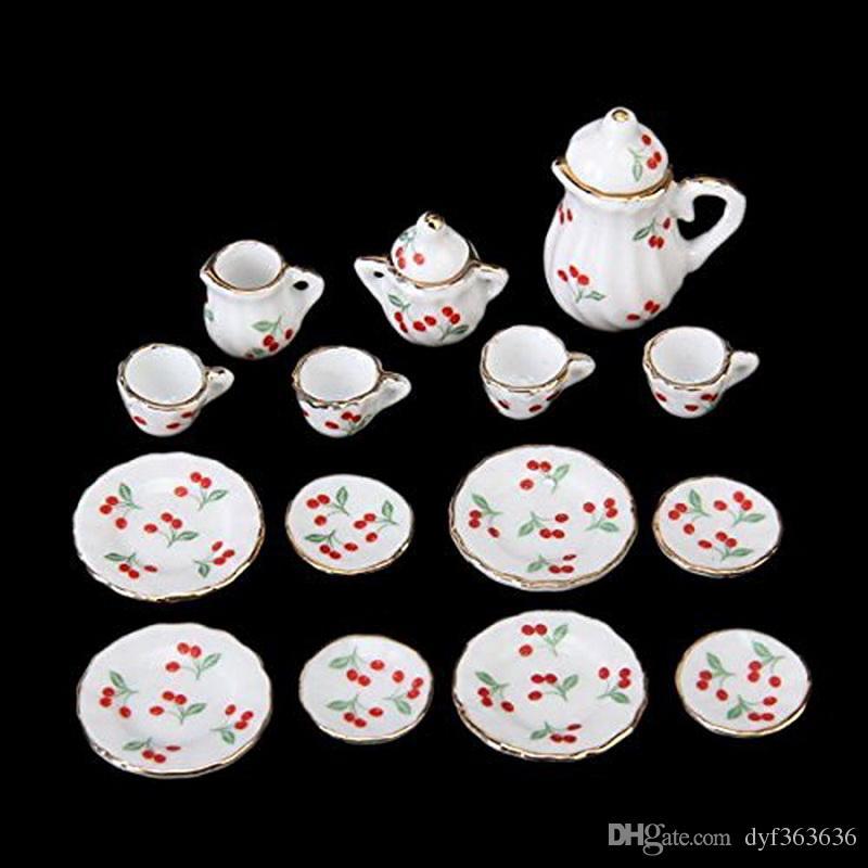 British Style 1/12 Dollhouse Miniature Dining Ware Porcelain Tea Set Dish Cup Plate Cherry Hot Sale
