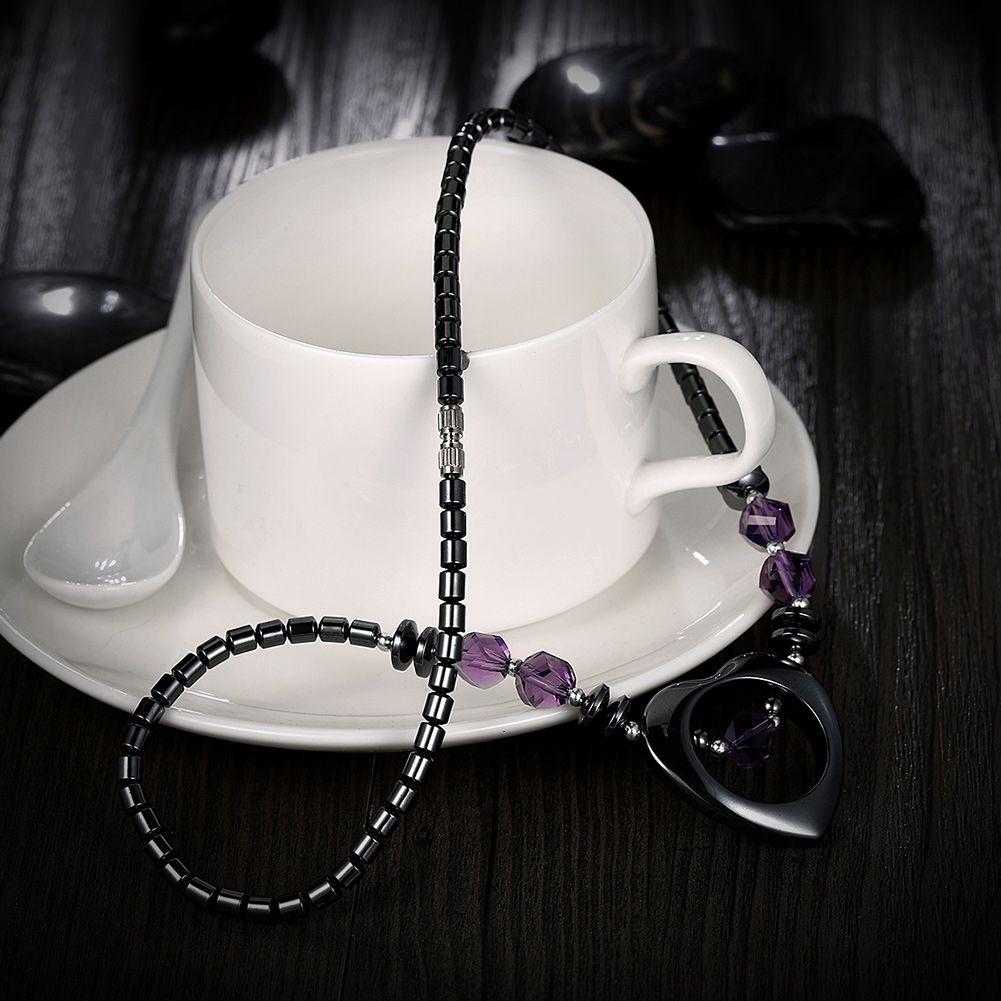 Ironstone Inlaid Purple Crystal Necklaces Romantic Love Heart Pendants Black Beads Beaded Necklace Women Vintage Boho Style Female Jewelry