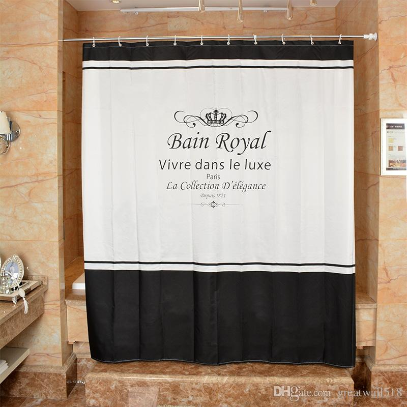 Waterproof Shower Curtain 100% Polyester mildew thick Bathroom Curtains letter Crown Pattern with Hooks Free print wholesale LJ009