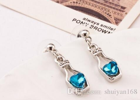 Moda Amor Botellas de deriva Conjuntos de joyas de cristal austriaco Pendientes DHL Pendientes de orejas colgantes Collar y pendientes Noble Accesorios para damas