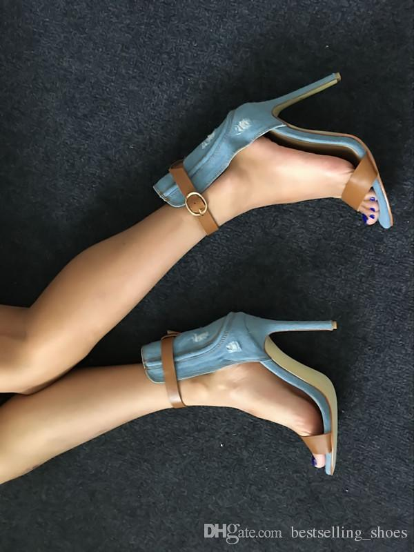 2017 new arrival European and American fashion sky blue women summer sandals wild thin high heel sandals