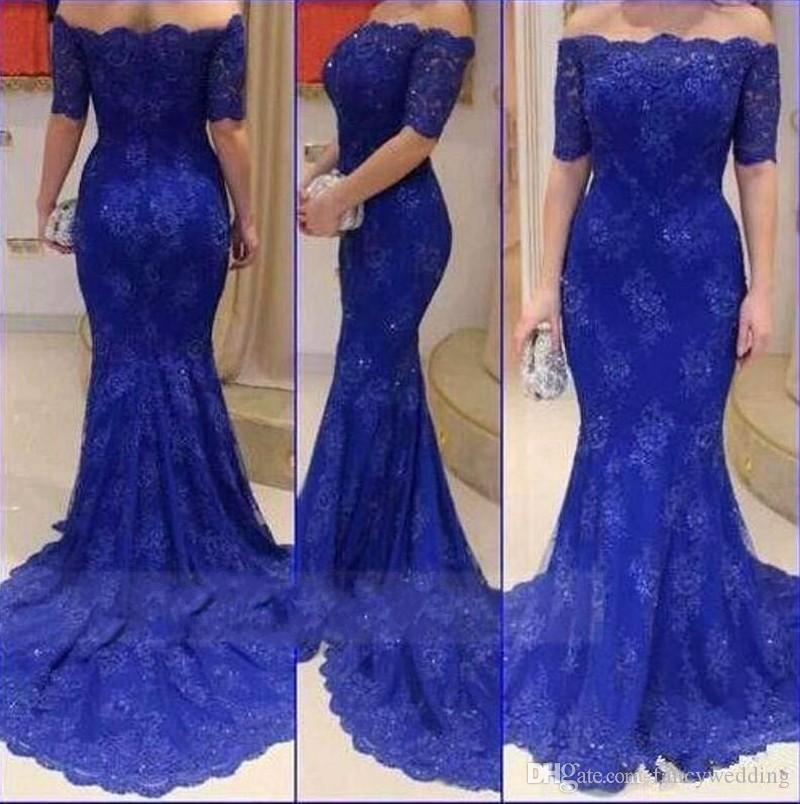 Lace Crystal 1/2 Sleeve Bateau 2017 Mermaid Sweep Train Royal Blue Evening Dresses Beautiful Evening Gowns 2017