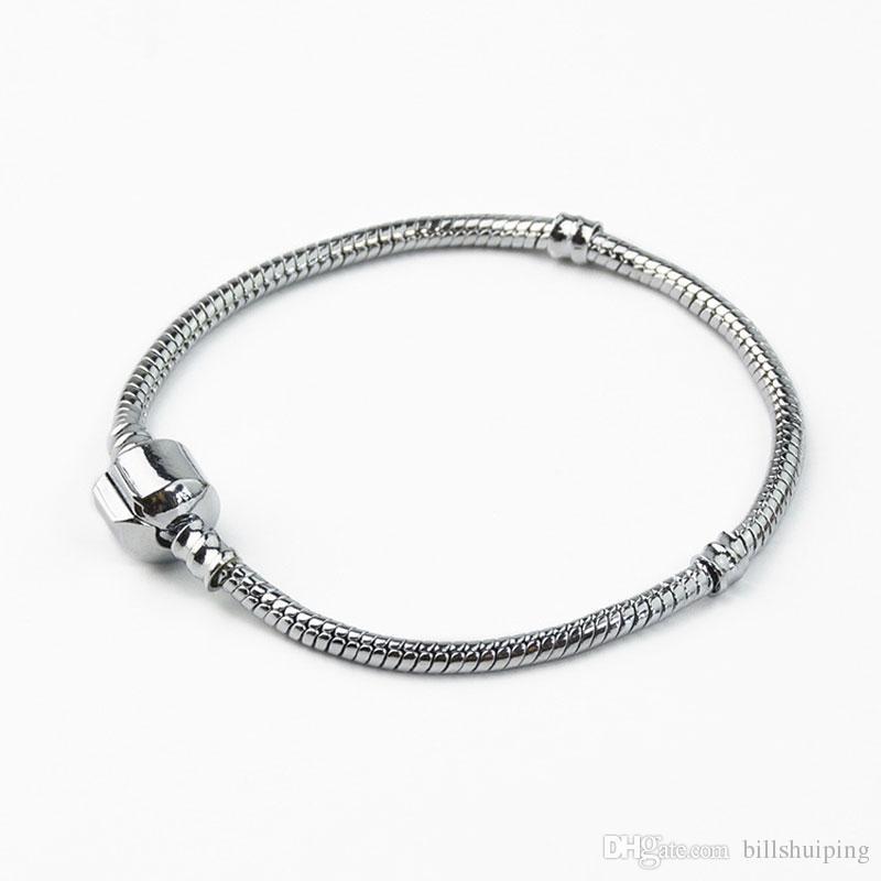 Braccialetto placcato oro 16-23cm argento bianco adattano a catena Donne Pandola del serpente dei monili di Base Bracciali braccialetti di fascino Fai da te Bead
