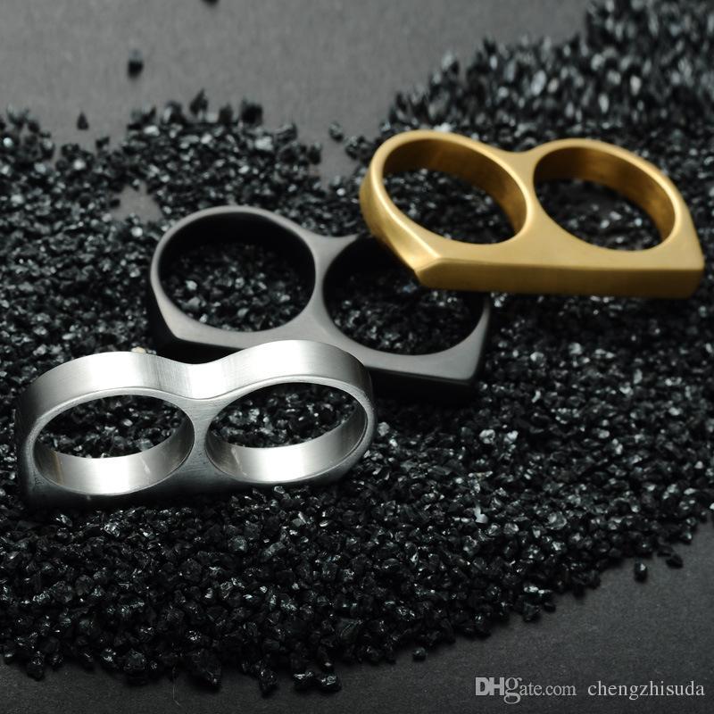 Hip Hop Do Punk Motociclista de Ouro Cor Preta De Aço Inoxidável Titanium Modelos Boate Dois Dedos Anéis para Homens Jóias