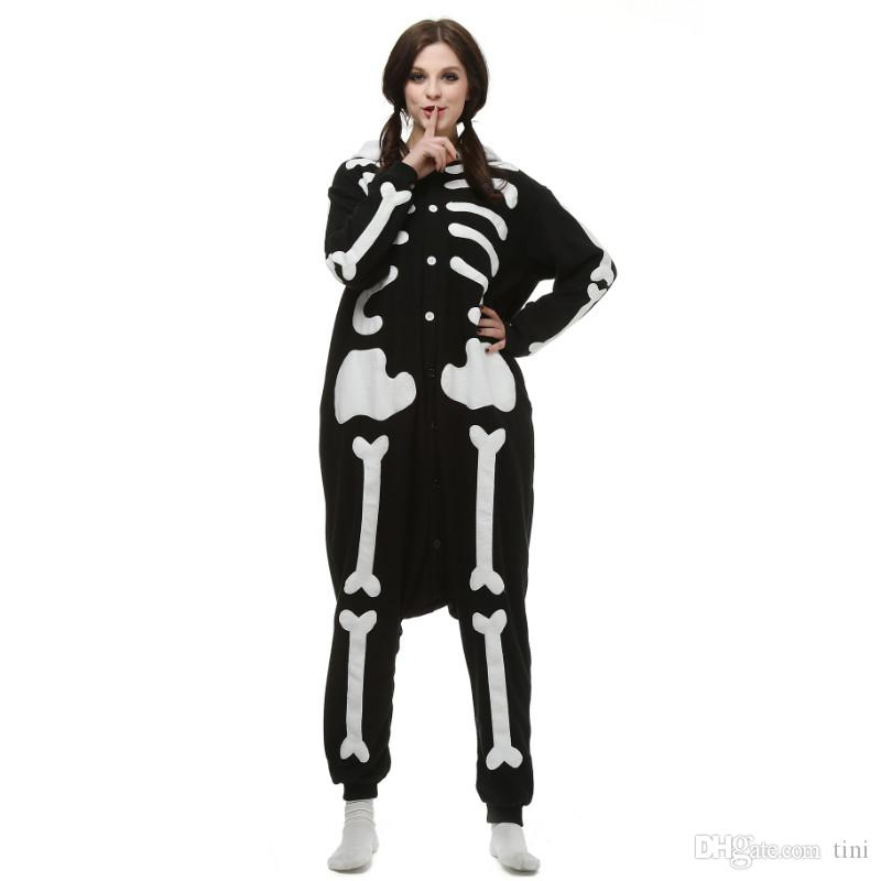 Купить Оптом Brand New Unisex Adult Kigurumi Pajamas Череп Костюм Cosplay  Animal Onesies Мужчины Женщины Мужские Комбинезоны Отtini В Категории  Одежды Для ... 71378026f1175