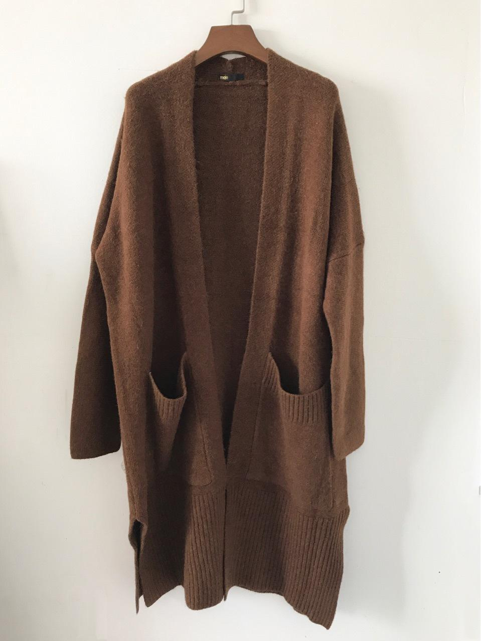 Women's Solid Camel Cardigan with Pockets Long Cardigan Thick ...