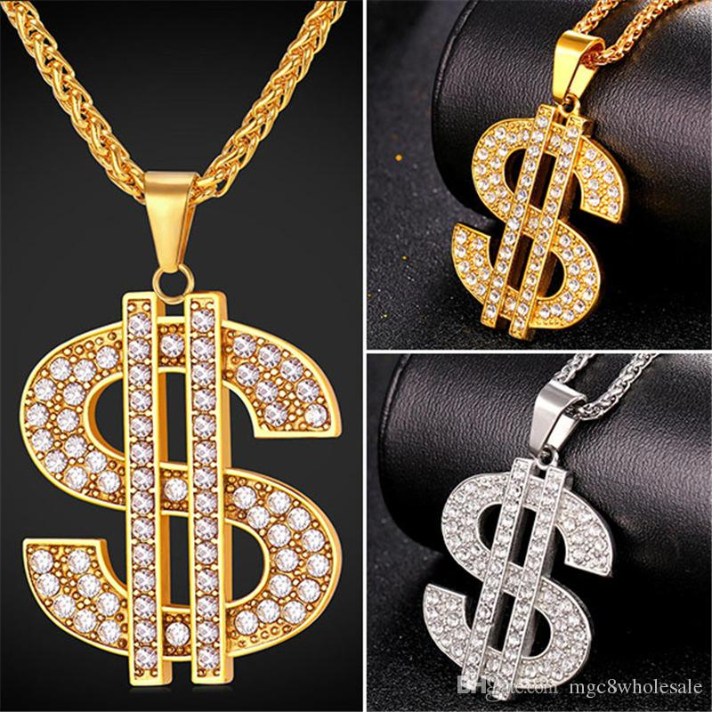 Wholesale u7 hip hop jewelry big rhinestone american dollar pendant wholesale u7 hip hop jewelry big rhinestone american dollar pendant necklace trendy gold platedstainless steel rope chain jewelry perfect accessories aloadofball Images