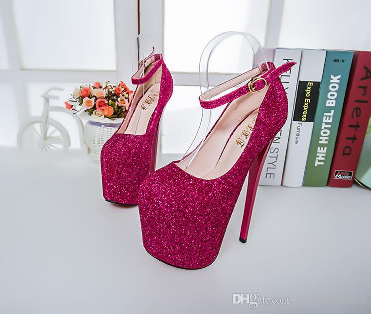 Sexy Fuchsia/Pink/Royal Women High Heels Plus Size Bridal Bridesmaid Shoes Prom Evening Night Club Party 19cm Super Fine Heels