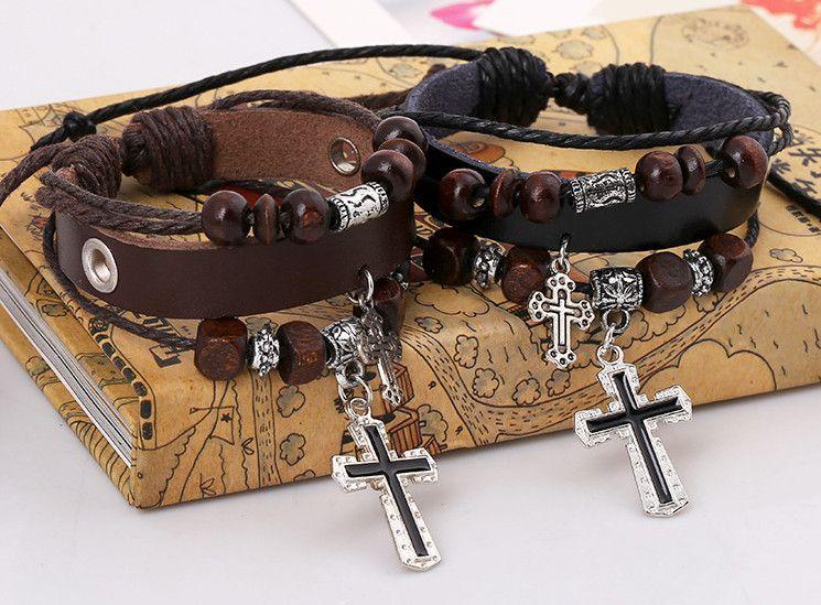 Vintage Bracelets Bijoux Mode Punk Perles En Bois Alliage Croix En Cuir Corde Tricoté Charme Bracelets En Gros Livraison Gratuite BR456