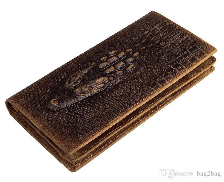 Véritable portefeuille en cuir Portefeuilles Hommes Crocodile Grain Wallet Hommes porte-monnaie Porte-cartes d'embrayage Retro Wallet Crazy Horse Portefeuilles en cuir
