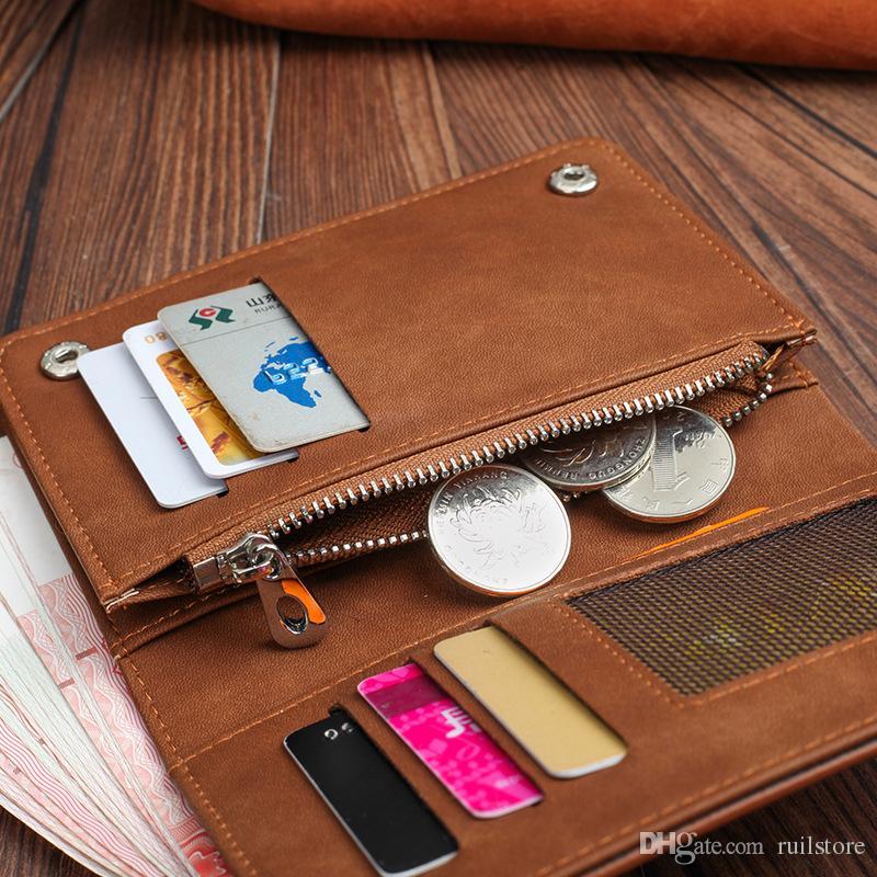 2017 New Men Scrub Retro Wallet Fashion Men Purse Long Coin Pocket Men Purse Credit Card Holder Bi-Fold Thin Purses