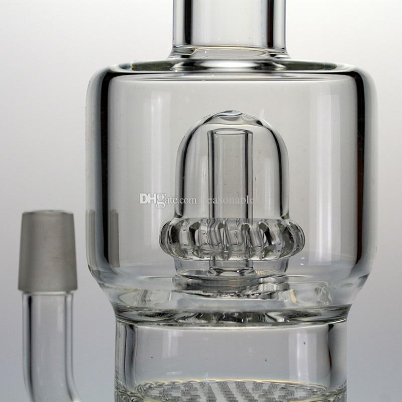 Glass Bongs Water Pipes Borosilicate Clear Straight Cylinder with Matrix Slitted inline Perc Hookahs Dab Rig