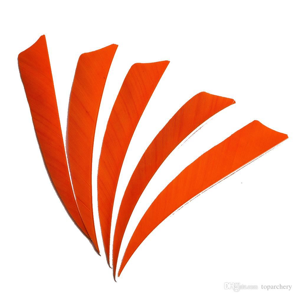 4'' Left Wing Feathers for Glass Fiber Bamboo Wood Archery Arrows Hunting and Shooting Shield Orange Fletching