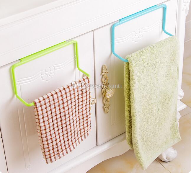Hot Popular Over Door Tea Towel Holder Rack Rail Cupboard Hanger Bar Hook Bathroom Kitchen Top Home Organization Candy Colors