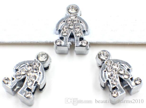 8mm rhinestones boy slide charm Fit for 8mm diy bracelet & necklace wristband as gift