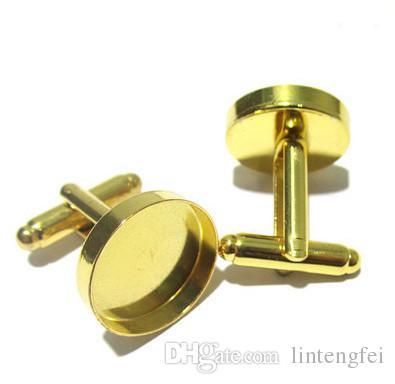 Wholesale versilbert Französisch Manschettenknöpfe Schmuck mit inneren 18mm Lünette Einstellung Fach für Cameo Cabochons