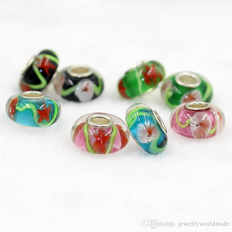 Coral Inside Murano Colorful Glaze Charm Bead 925 Silver Plated Fashion Women Jewelry European Style For Pandora Bracelet Necklace