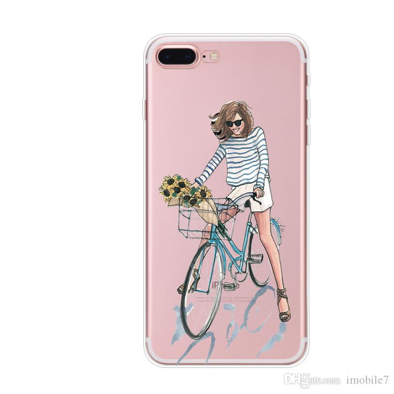 Fashion Lady Phone Cases Coque For iPhone 6 6s 6plus 7 7plus Clear Silicon Plus Luxury Cover Girl Soft Shell Sexy Modern