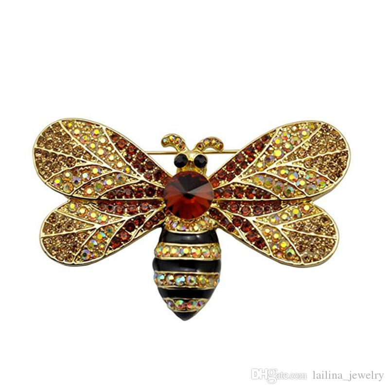 Vintage Brown Bee Insect Gold-Tone Brooch Pin Rhinestone Crystal Woman