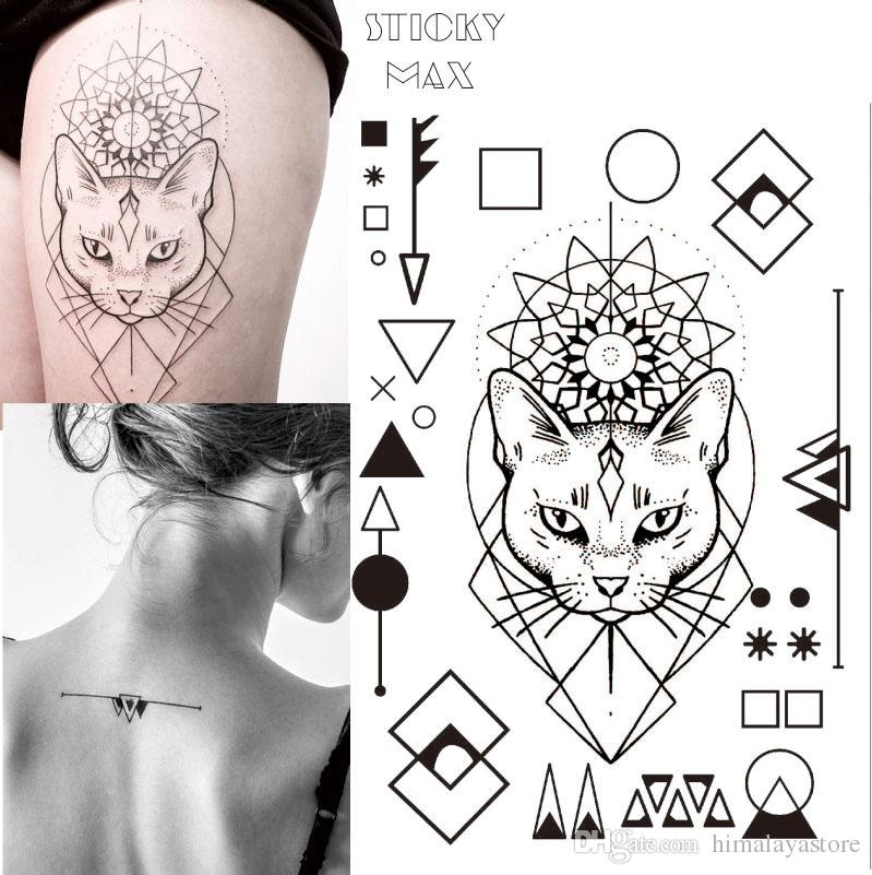 671fbbb50 W17 Geometric Cat Temporary Tattoo With Square, Round Circle, Triangle  Geometry Pattern Body Art Tattoos Tattoo Websites Temporary Shop From  Himalayastore, ...