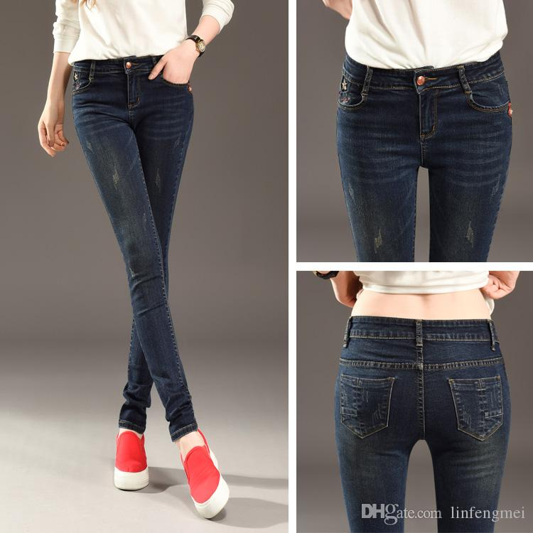 9ed3df21ce8 Hot Fashion Ladies Cotton Denim Pants Stretch Womens Hardcore Jeans Faded  Black Bleach Ripped Skinny Jeans Female Canada 2019 From Linfengmei