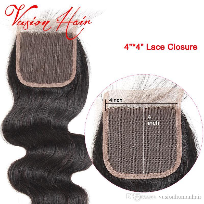 Объемная Волна Бразильские Плетения Волос 4x4 Закрытие Unprcoessed Человеческих Волос Хорошее Дешевое Закрытие Объемной Волны Норки Brazlilian