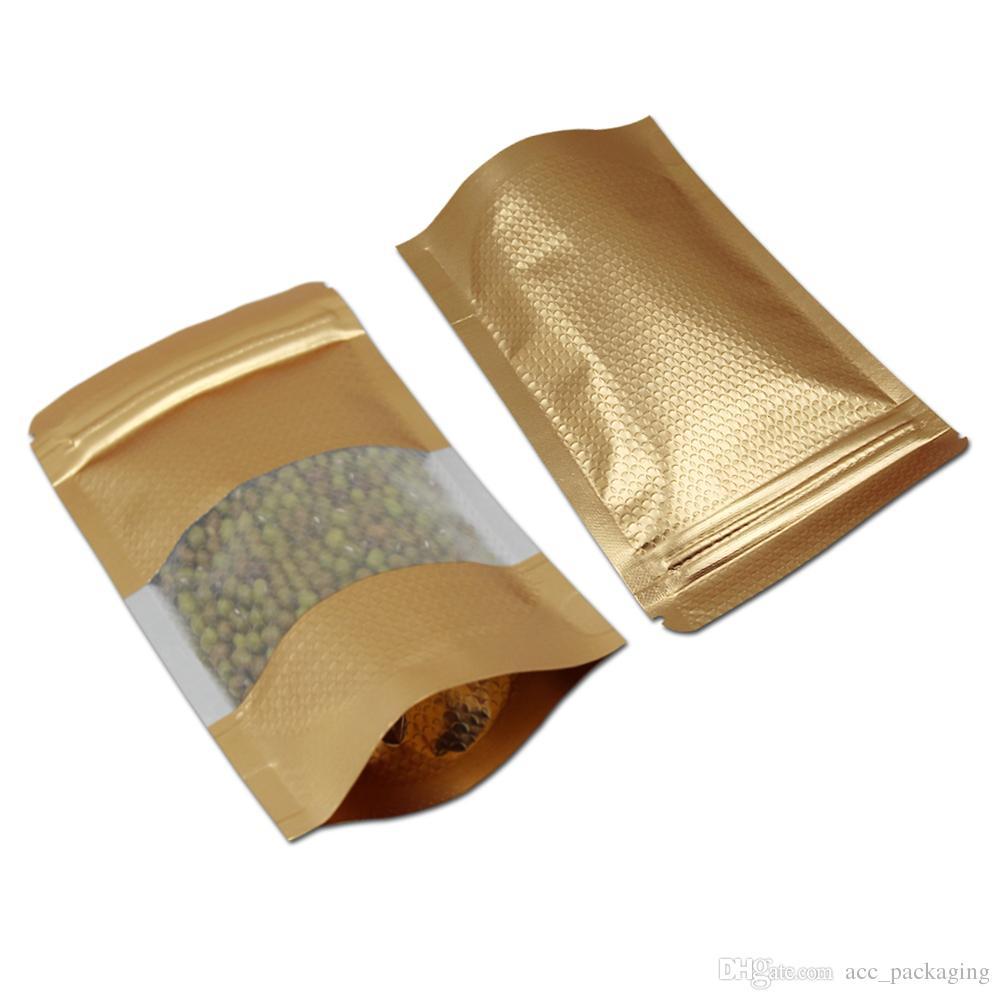 / Pencereli Isı Seal Doypack Mylar Çanta Packaging Yukarı Altın Alüminyum Folyo Fermuar Kabartmalı Çanta Şeker Çay Poly Standı
