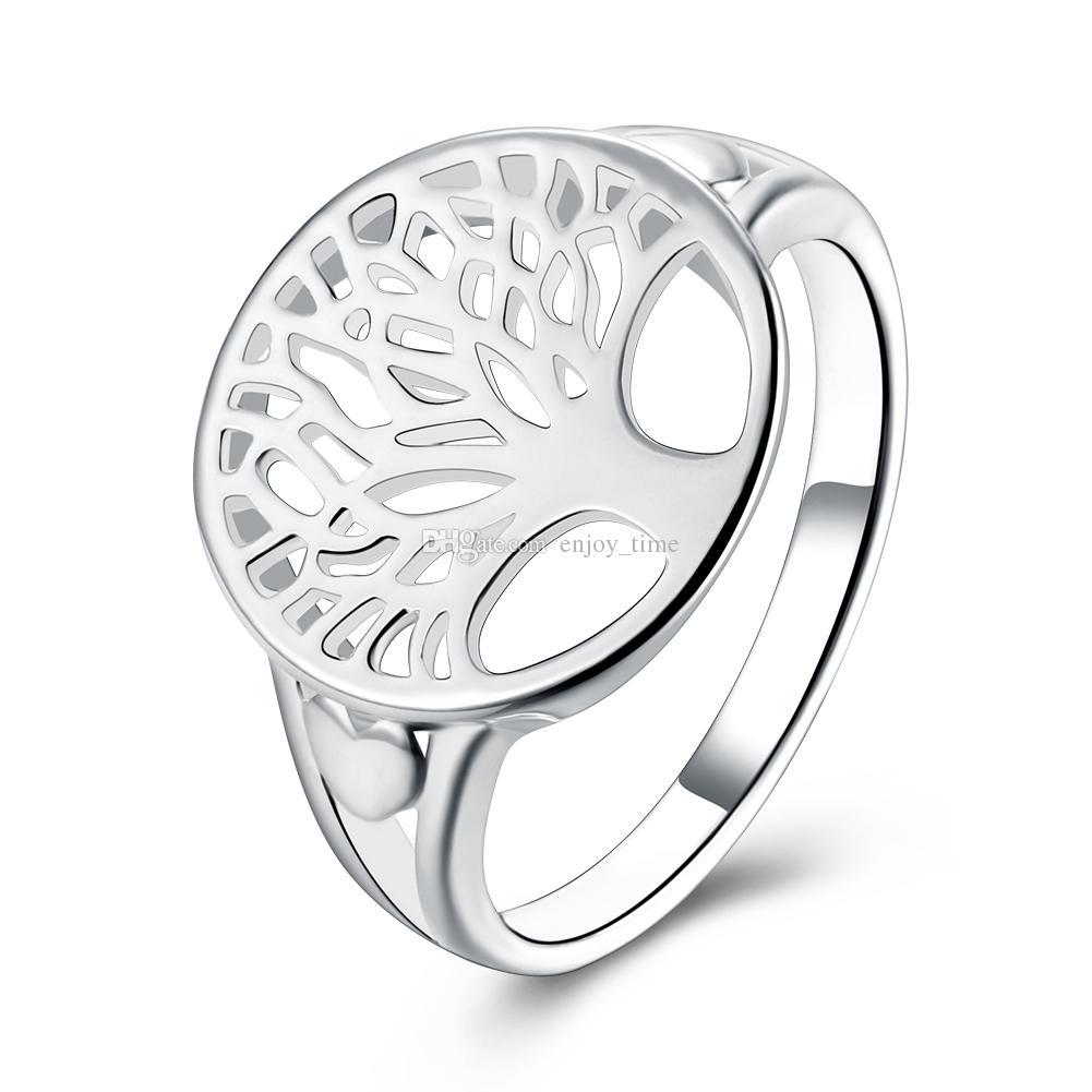 Plata de moda plateó el árbol del anillo de la vida ahueca hacia fuera la familia Art Life Tree Rings para la joyería de las mujeres R892