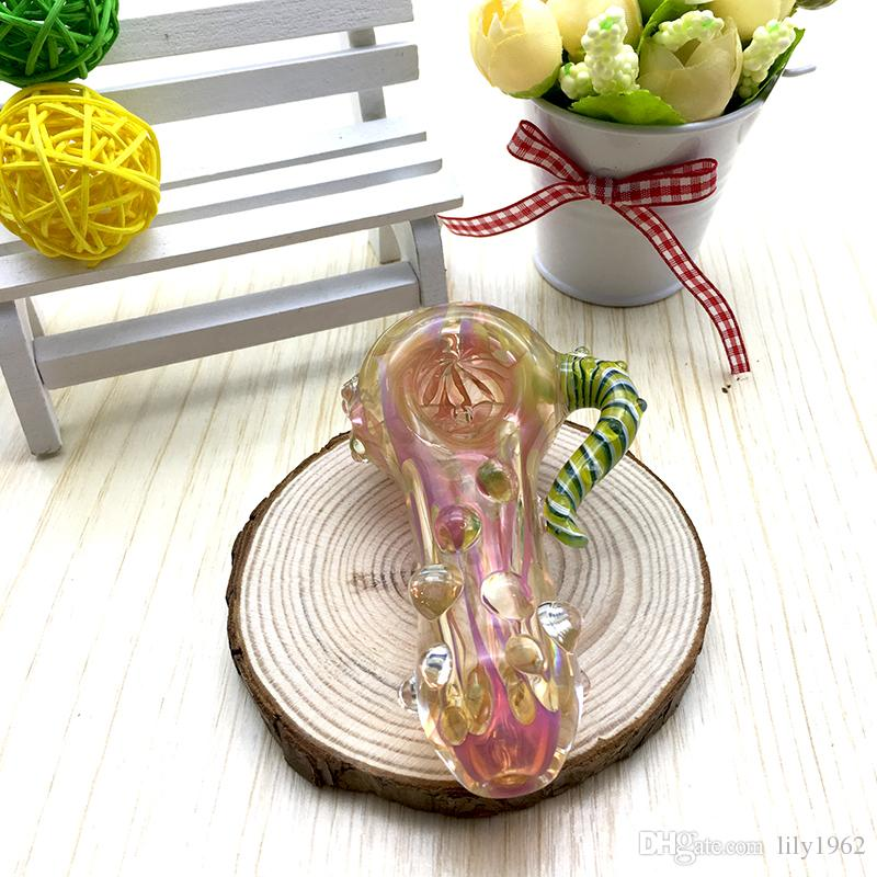 Good Quality Hand Pipe Thick Glass Pipes Beautiful Pink Lines Glass Pipes Heavy Spoon Glass Pipe