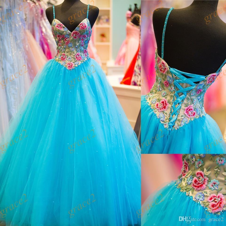 Light Sky Blue Quinceanera Dresses 2017 with Beaded Straps and Lace Up Back Real Picture Petal Power Ball Gown Prom Dress Sweep Train