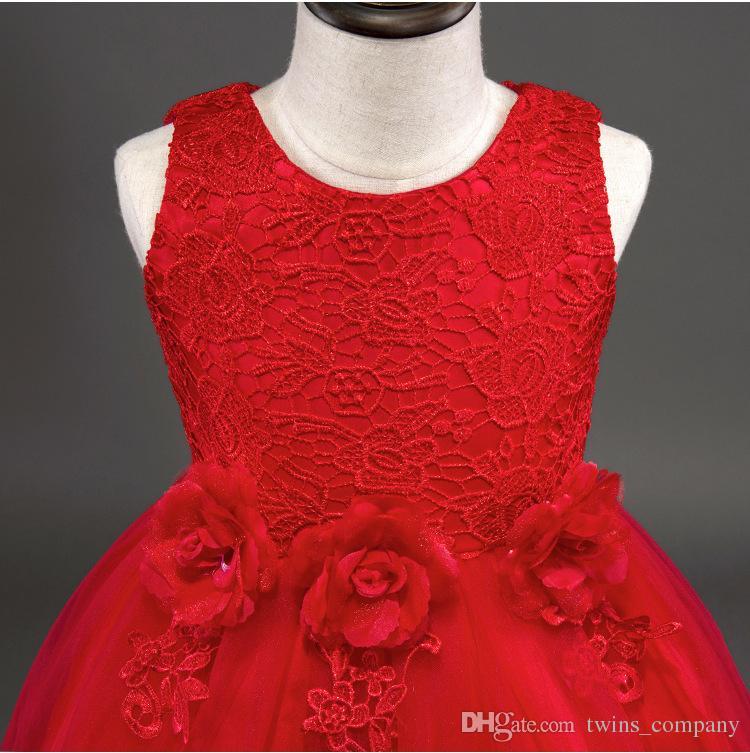 2017Fashion Flower Girl abito da damigella d'onore bambini Red Mesh Trailing Butterfly Ragazze Abito da sposa bambini Ball Gown ricamato Bow Party Dress