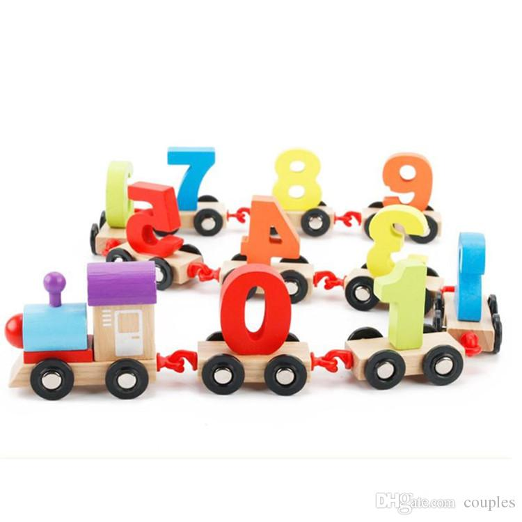 hot Children's Block Number Train Colorful Educational Puzzle Wooden Train Kids Assembly Puzzle Toys dhl shipping