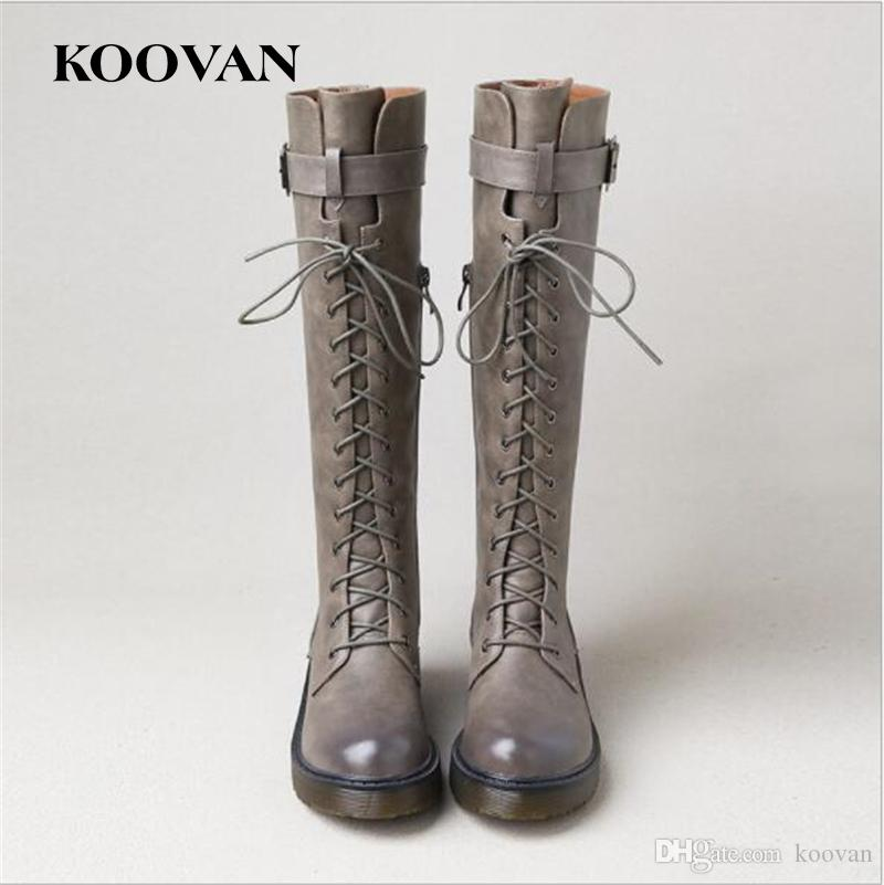 Koovan Half Boots Lace Knight Boot 2017 Hot Sale Winter Autumn Women Ladies Korean Style Fashion Quality W550 discount really C4tnYezwX5