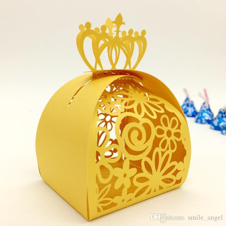 Hot Selling Wedding Favor Boxes Multi Color Laser Cut Hollow Crown and Flora Party Candy Package European Fashion Design Dropship
