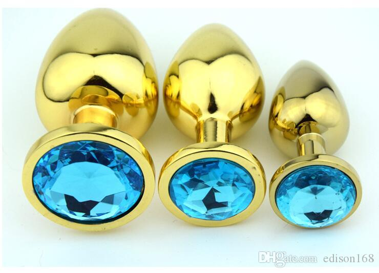 新しいSサイズユニセックス魅力的なクリスタルジュエリーゴールド金属ステンレススチールアナルプラグバットブーツビーズ大人のBDSMセックス肛門肛門おもちゃ様々な色