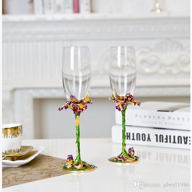 High-grade Enamel Color Champagne Crystal Wine Cup Goblet Couple Cups Wedding Gift Two Style Alloy Plating Pink Sets Tumbler
