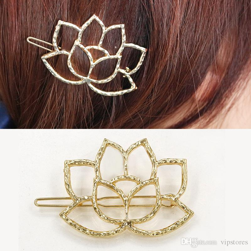 a4f5ff3ba531 2019 New Lotus Flower Hair Accessories Gold Silver Plated Flower Hair Clips  Jewelry Cute Water Lily Bobby Pins Barrettes Hairpin For Ladies From  Vipstores