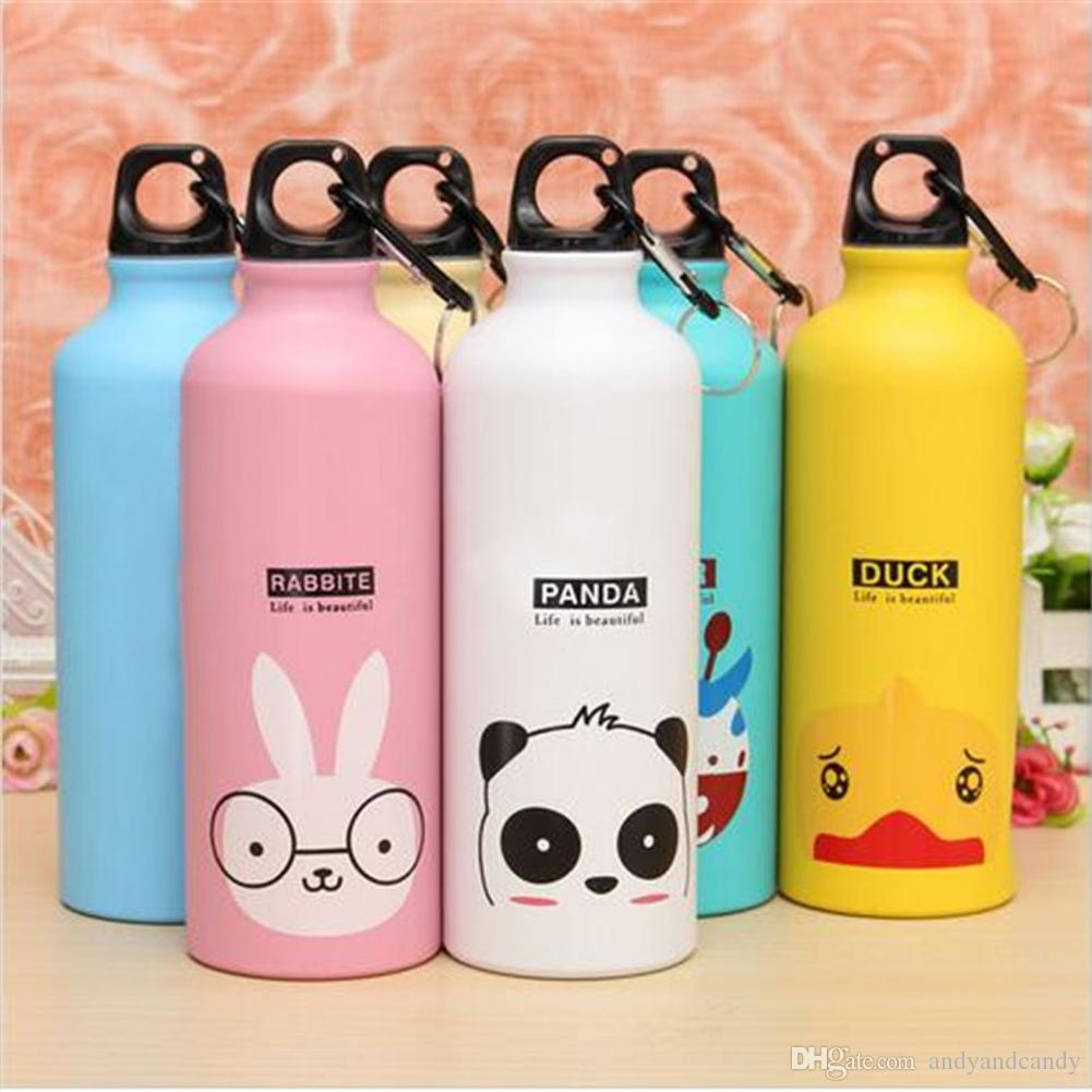 500ml Lovely Animals Design Water Bottle Outdoor Portable Outdoor Sports Cycling Camping Bicycle Aluminum Alloy School Kids Water Bottle