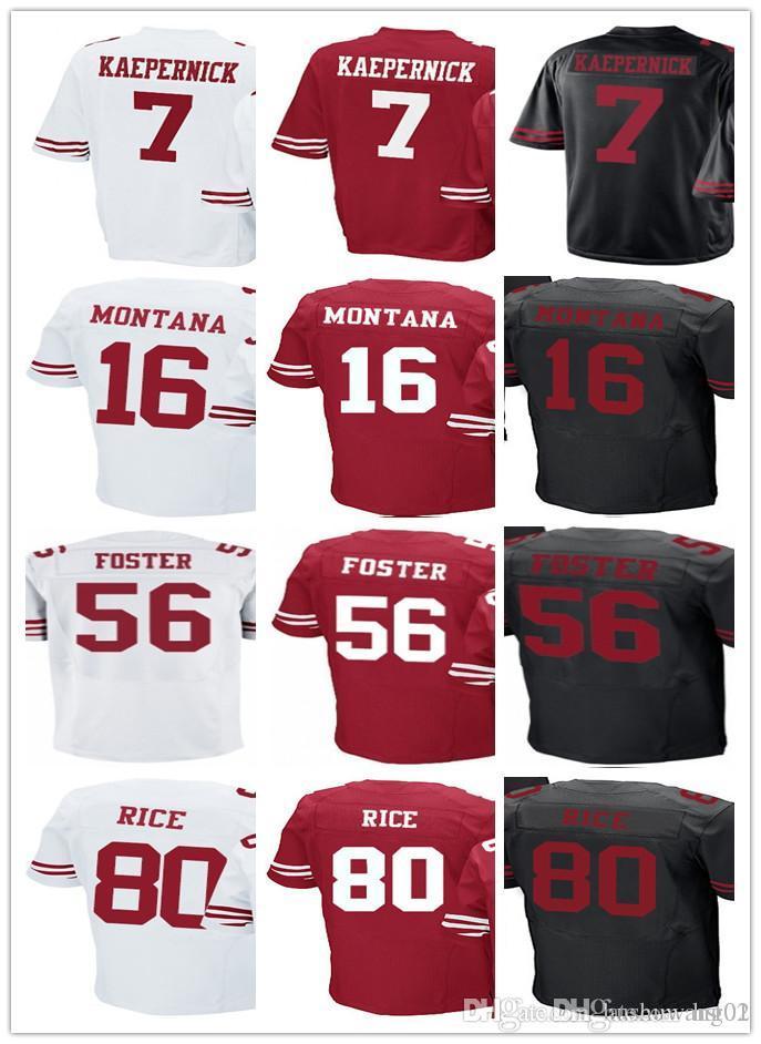 Mens 7 Colin Kaepernick Jersey 16 Joe Montana 80 Jerry Rice 56 Reuben  Foster Home Red ... af399287d