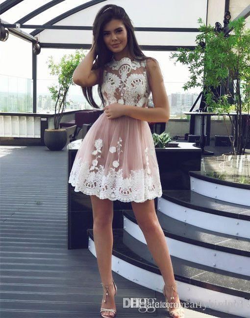 2018 New Sexy Sheer Lace Appliqued Short Homecoming Dresses A Line Bateau Neckline Sleeveless Graduation Party Gowns for Juniors Prom
