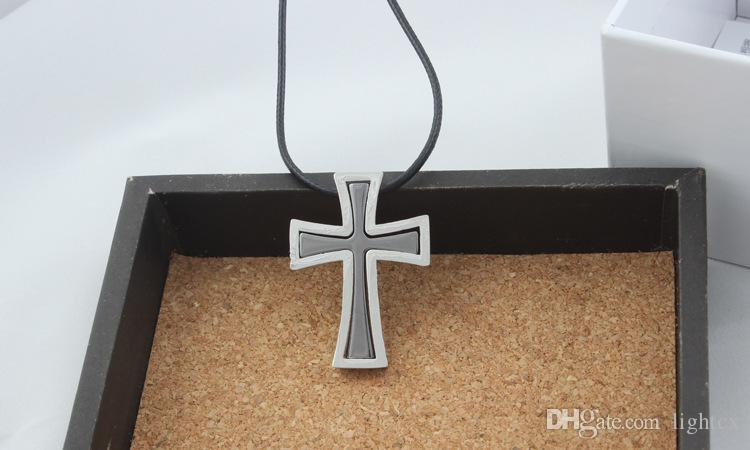 Christian Cross necklace rope chain Stainless Steel retro double layer pendants necklaces for Men women fashion Popular jewelry