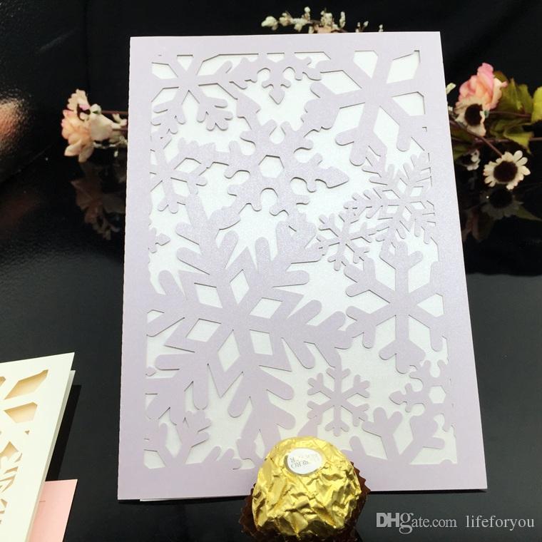 invitaciones de boda corte láser invitaciones de boda copo de nieve invitaciones de fiesta de bodas en blanco Página interior Con sobre blanco, pegatina