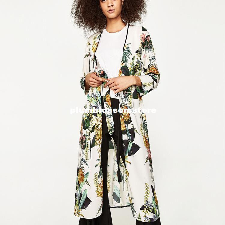 0daeb553ba19d1 2019 Fashion Floral Printed Kimono Blouses Shirt Women Split Kimono  Japanese Long Cardigan Summer Bohemian Beach Belt Sashes Casual Blouses Hot  From ...