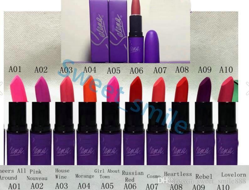HOT NEW Selena Collection MATTE GLAZE LIPSTICK Fashion Makeup Waterproof Beautiful Cosmetics 3G With English Name