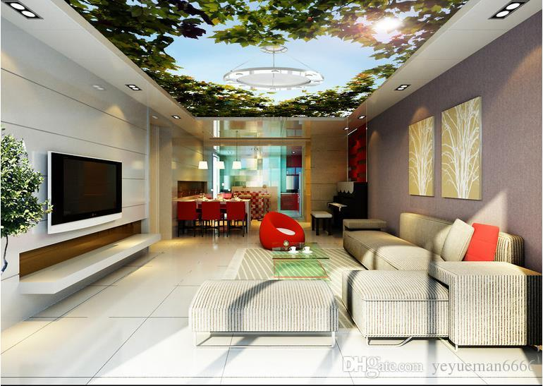 3d ceiling wallpaper for bedroom walls custom 3d wallpaper for ceilings Heart-shaped green forest leave3d ceiling wallpapers for living room