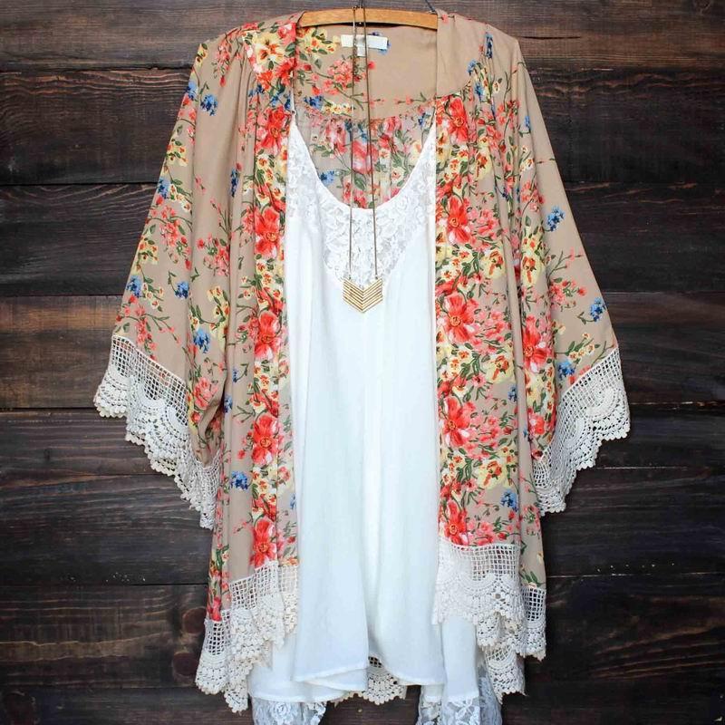 5f6539577eef 2019 2017 Kimono Women Kimono Jacket Chiffon Cardigan Long Sleeve Top  Blouse Beach Cover Up Blouse Tassel Flower Pattern Shawl Kimono Cardigan  From ...