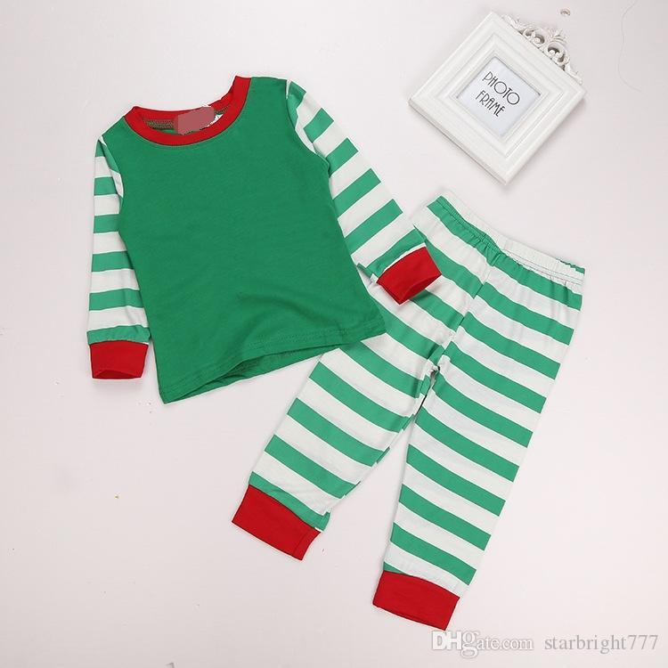 Boy Girl Christmas Pajamas Sets Children Cotton Stripe Long Sleeve + Pants Suits Baby Clothes Home Clothing Sets