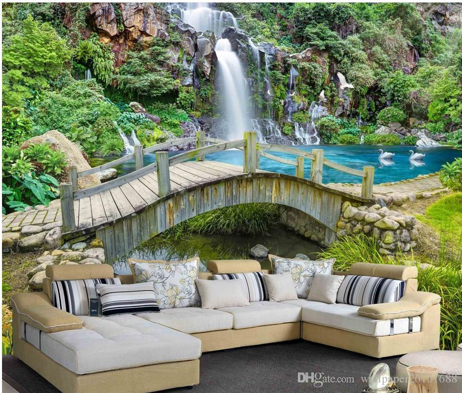 Merveilleux Mountain Spring Creek Bridge Waterfall Landscape Painting Background  Wallpaper For Walls 3 D For Living Room Free Christmas Wallpaper Free  Computer ...