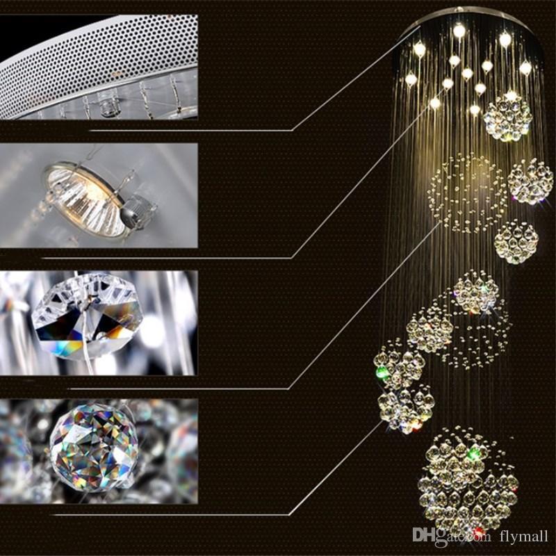 Lampadario moderno Grande luce di cristallo scale Lobby Scale Foyer Long Spiral Lustre Lampada da soffitto Flush Mounted Scale Light